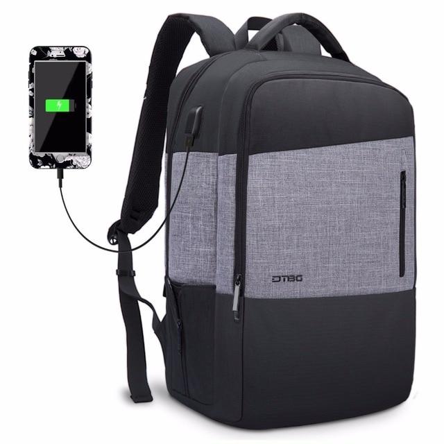DTBG Brand 2018 New Backpack Patchwork Men Smart Bags With USB Charging  Port Large Capacity Anti Theft Waterproof School Mochila 0defa11331eab