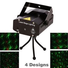 Retail sale 150mW 4in1 Mini  Laser stage lighting effect laser projector party dj disco light 110-240V With Tripod