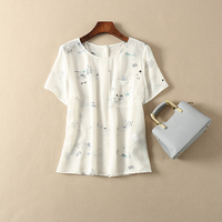 Chinese landscape blouse toinou oslo short sleeved top silk women's Blouse with Rainbow buckle