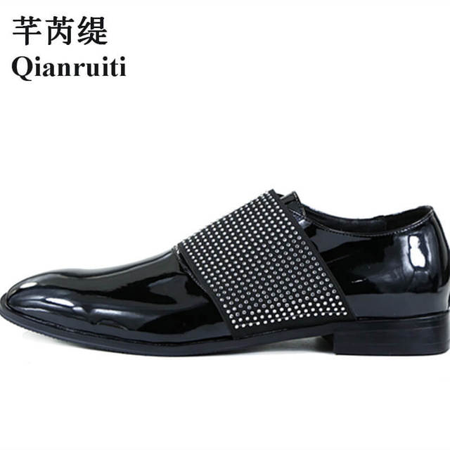 Qianruiti Men Patent Leather Shoes Rhinestone Slip-on Slipper Business  Oxfords Wedding Shoes for Men EU39-EU46 Customized color 2c8ad6165cdf