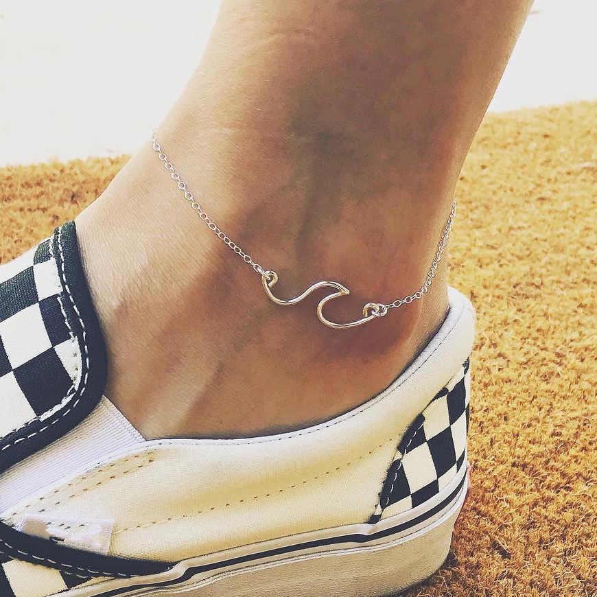 Женский браслет в стиле бохо, волнистый серебряный браслет, Халхал, морской Шарм ракушка, браслет на лодыжке, цепочка, ножные браслеты для женщин, Enkelbandje Halha