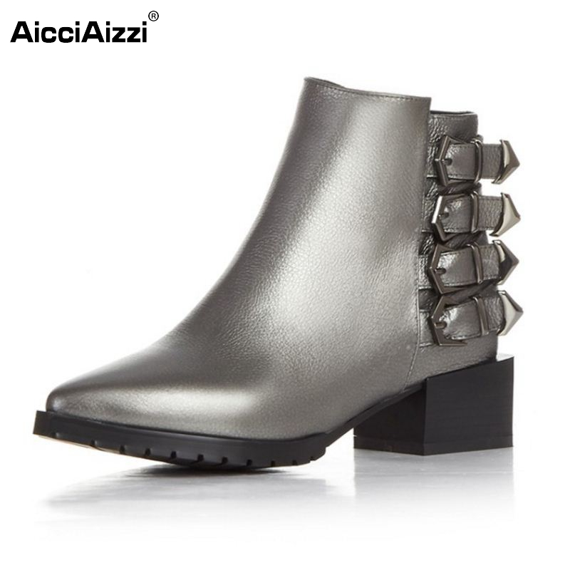 Brand New Women Real Leather Pointed Toe Ankle Boots Woman Square Heel Shoes Stylish Buckle Footwear Shoes Size 33-43 brand new woman real genuine leather square heel half short boots women retro square toe heeled shoes footwear size 34 39 n00178