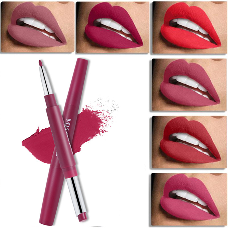 <font><b>Miss</b></font> <font><b>Rose</b></font> Dual-ended <font><b>Lipstick</b></font> & Lipliner <font><b>Set</b></font> Silky <font><b>Matte</b></font> Lip Stick Waterproof Nude Lip Liner Soft Long-wearing Beauty Cosmetics image