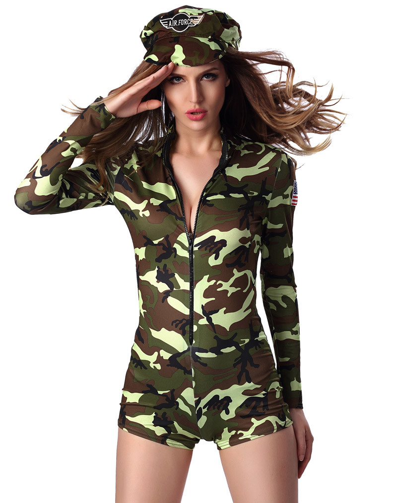 HTB1PLygLXXXXXasXVXXq6xXFXXXh - FREE SHIPPING Adult Sexy Army soldier Costumes Commander camouflage printed romper with long sleeves JKP283