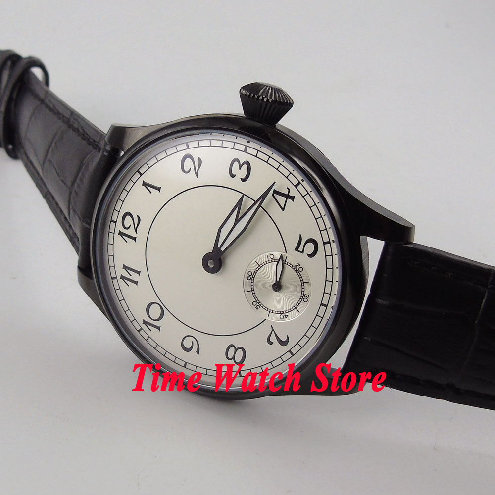 Parnis 44mm white dial luminous PVD case leather strap 6498 hand winding movement Men's watch 288A цена и фото