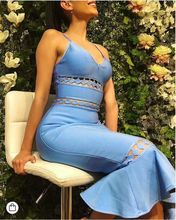High Quality Celebrity Light Blue Sleeveless Keyhole Bodycon Rayon Bandage Dress Cocktail Party