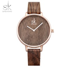 Shengke 2018 New Creative Women Watches Casual Fashion Wood Leather Watch Simple Female Quartz Wristwatch Relogio Feminino