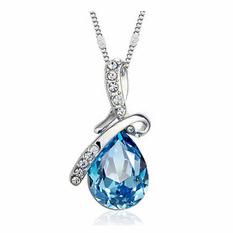 Thời trang Màu Xanh Vòng Cổ Pha Lê Áo Water Drop Pendant Necklace Đối Với Phụ Nữ Birthday Người Bạn Tốt Nhất Quà Tặng Trang Sức Sỉ x331
