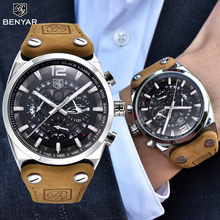 Benyar − montre bracelet en cuir pour hommes, de marque de luxe, à Quartz, Sport militaire, longueur 30m, décontracté