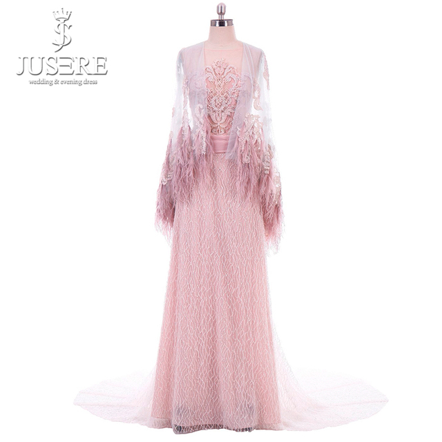 Straight Column Beading Illusion Bodice Detail Lace Appliques Shoulder Cap Feather Edge Big Long Train Pink Evening Dress 2018