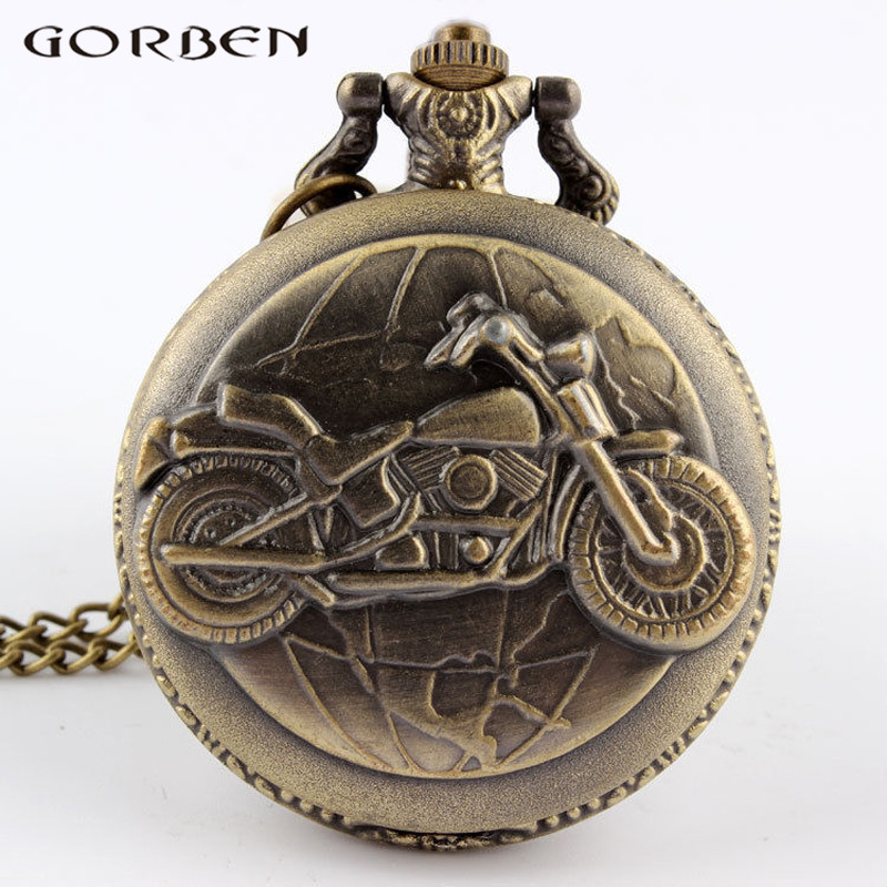 Unique Design Bronze Motorcycle Steampunk Quartz Pocket Watch Cool Fashion Pattern Men Watch Pocket Watch With Chain Pendant P79