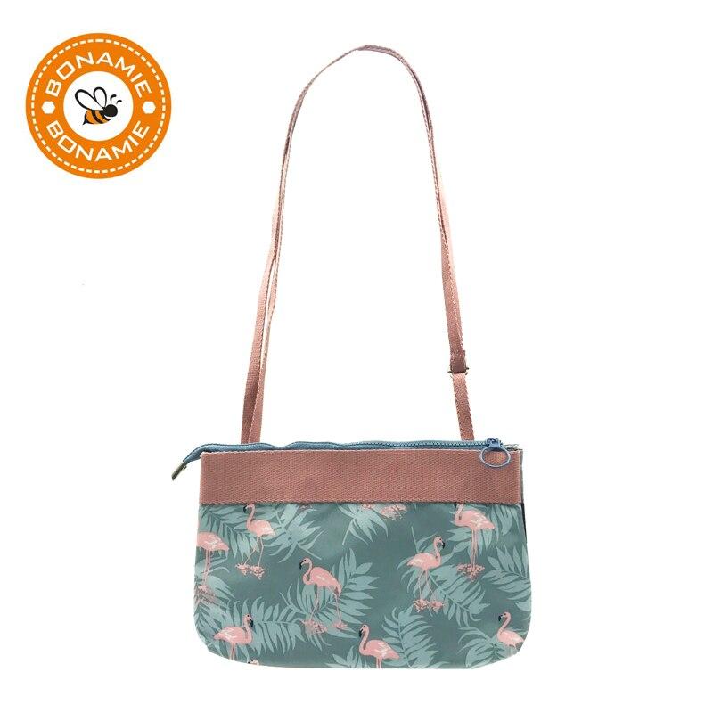 BONAMIE Cute Flamingo Canvas Women Messenger Crossbody Bag Flower Printing Girls Small Cartoon Shoulder Bag Double Cross Bag