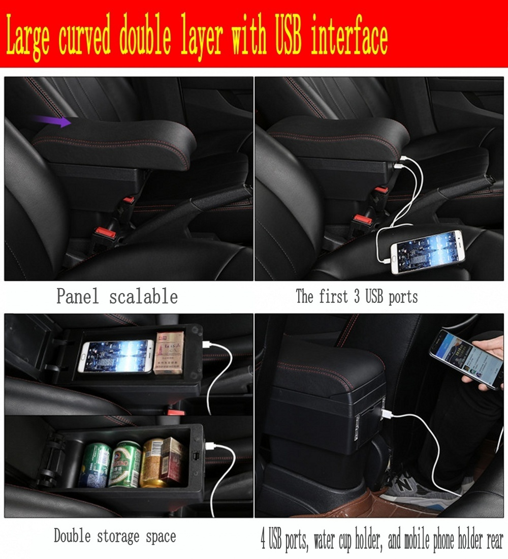Image 5 - For Polo armrest box Polo V universal 2009 2018 car center console modification accessories double raised with USB-in Armrests from Automobiles & Motorcycles