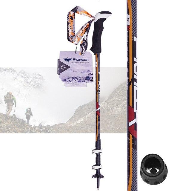PIOMEER Narciarstwo Trekking Walking Polaka Alpenstock Regulowana Teleskopowa Ze Stopu Aluminium Anti-shock Góral Piesze Wycieczki Memory Stick