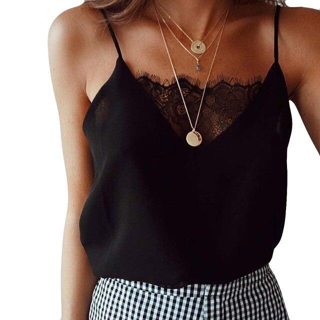 Womens blouse tee 레이스 t 셔츠 조끼 여름 2019 뜨거운 판매 섹시한 조끼 패션 캐미솔 자르기 탑 민소매 t-셔츠 탱크 탑
