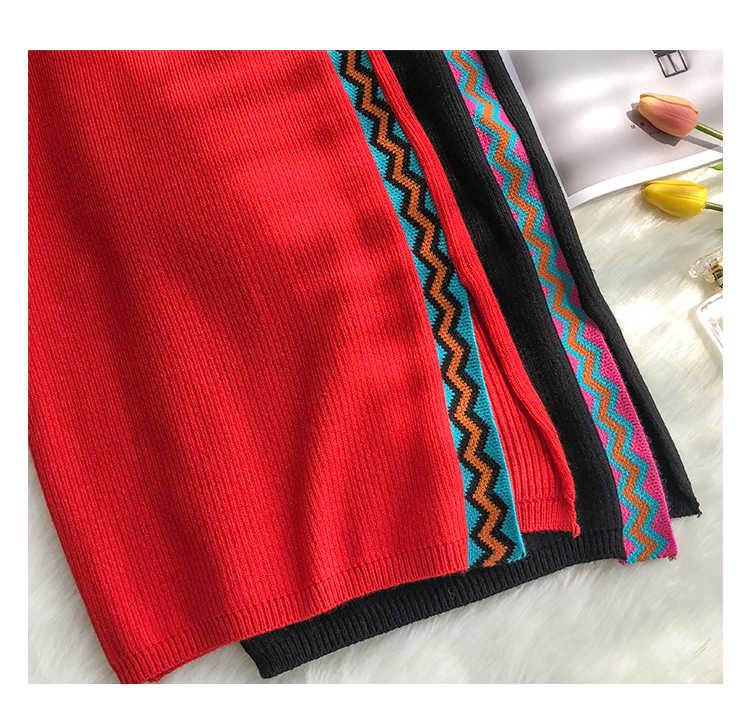 H. SA комплект из двух частей женское платье 2018 Осень Зима Вязаный топ с длинными рукавами свитер высокая юбка с тонкой талией женская элегантная одежда