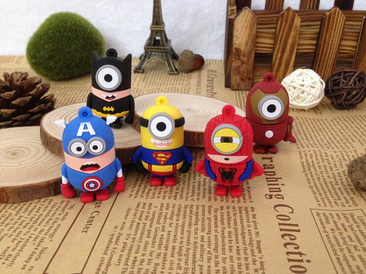 Cartoon Superman/super hero /captain/Batman/Ironman minion USB Flash Drive 8GB/U Disk/us ...