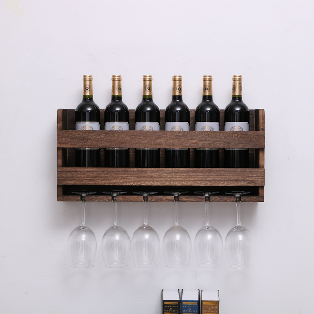 Retro Wooden Wall Hanging Red Wine Rack Upside Down Creative Home