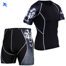 Men Compression T-Shirt Sportswear Legging Suits Fitness-Tights MMA Gym Short-Sleeve