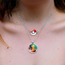 Glass Dome Cabochon Pokeball+Pikachu  Multilayer Chain Necklace