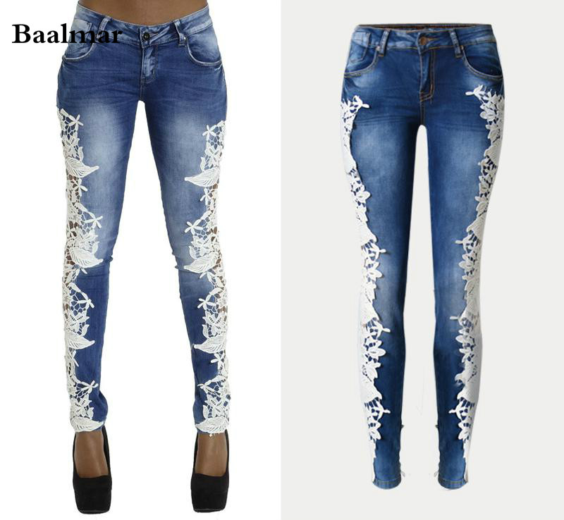 Baalmar Women Fashion Side Lace Jeans Hollow Out Skinny Denim Jeans Woman Pencil Pants Patchwork Trousers