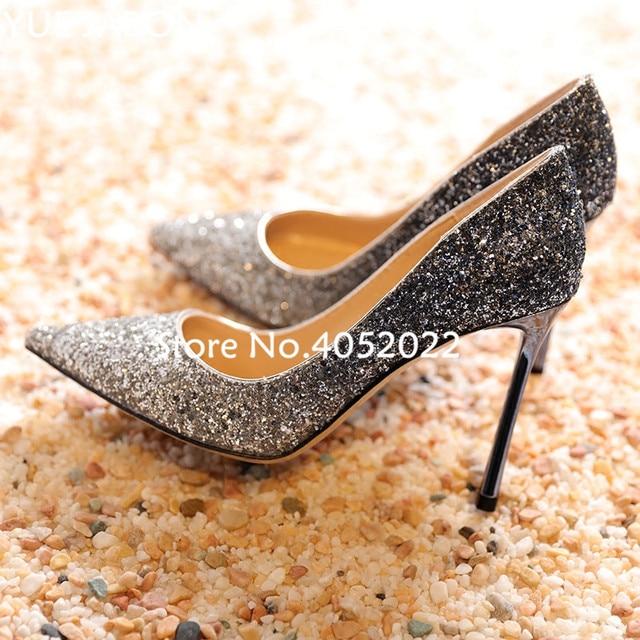 Bride wedding dress shoes 12cm Golden rose woman high heels slip-on female  pumps bling bling paillette stiletto bridesmaid heels edd66ce85128