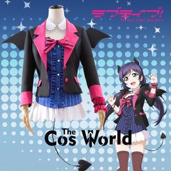 Love Live School Idol Project Tojo Nozomi Bat Little Devil Demon Fancy Dress Uniform Outfit Anime Cosplay Costumes