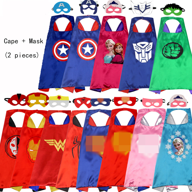 Mask Costume Suit Superhero Cape Spiderman Birthday Children Halloween Kids for Party