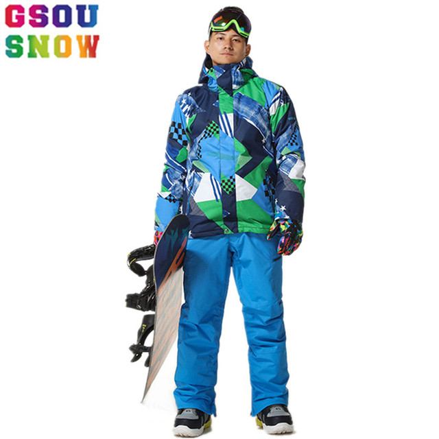 GSOU SNOW Ski Suit Men Ski Jacket Pants Waterproof Snowboard Sets Jacket  Pants Hooded Mountain Skiing Suit Male Spots Clothing cd95f7da7