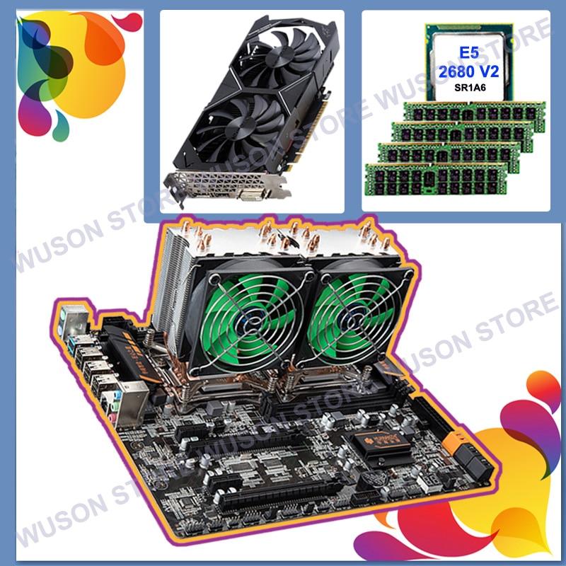 Computer DIY HUANAN ZHI Discount Dual X79 Motherboard Dual CPU Intel Xeon E5 2680 V2 RAM 64G(4*16G) 1866 Video Card GTX1050Ti 4G