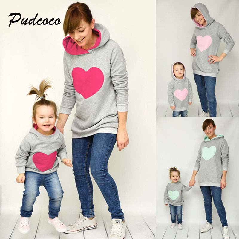 Pudcoco Family Matching Dress Outfit Sweatshirt Hoodie Daughter Women Girl And Kid Heart title=