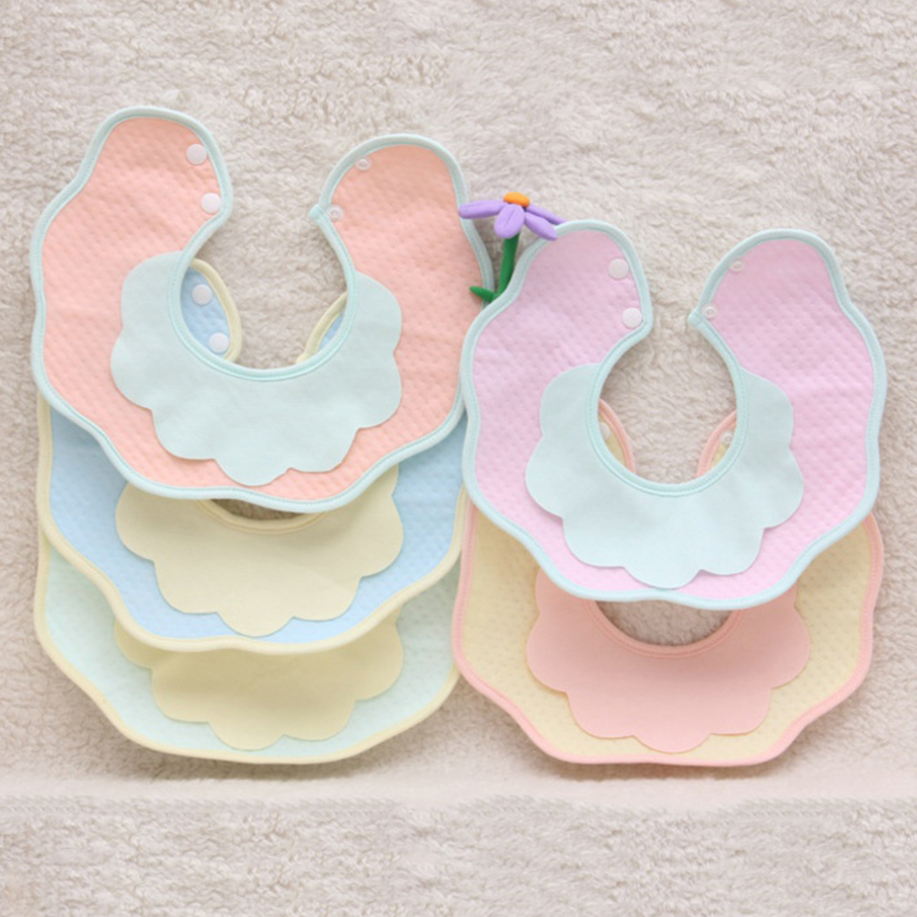 Infant Cute Baby Bibs Rotation Baby Saliva Towels Newborn Burp Cloths With Button