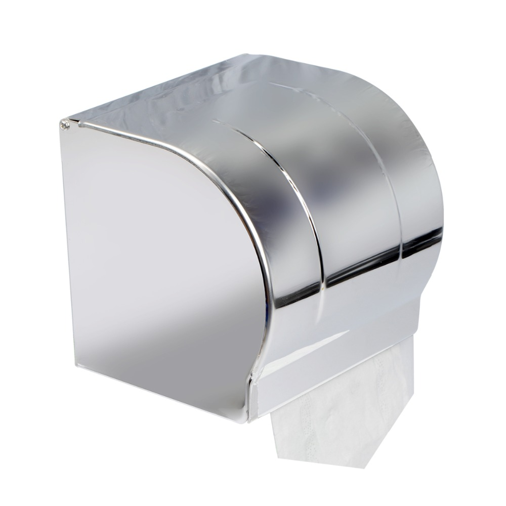 Stainless Steel Chrome Bathroom Toilet Paper Holder Shelf Roll Tissue Box Wall Mounted Convenient