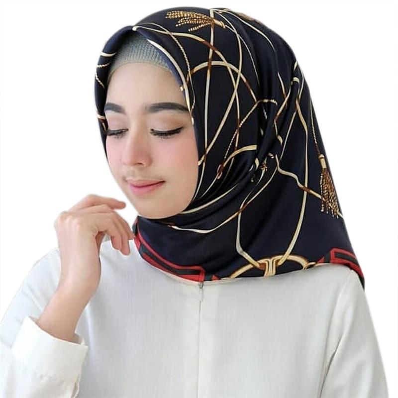 Gift For Muslim Female Hijab Scarf Soft Lightweight Square Wrap Turban Women's Headscarf Print Satin Abaya Turkish Inner Hijabs