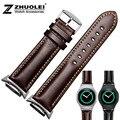 Alta qualidade pulseira de couro genuíno para samsung gear s2 classicr720 20mm em pulseira incluem adaptador preto | brown pulseiras de relógio