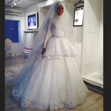 OW69 With Hijab and Veil Ball Gown Bridal High Neck Long Sleeve Muslim Wedding Gown