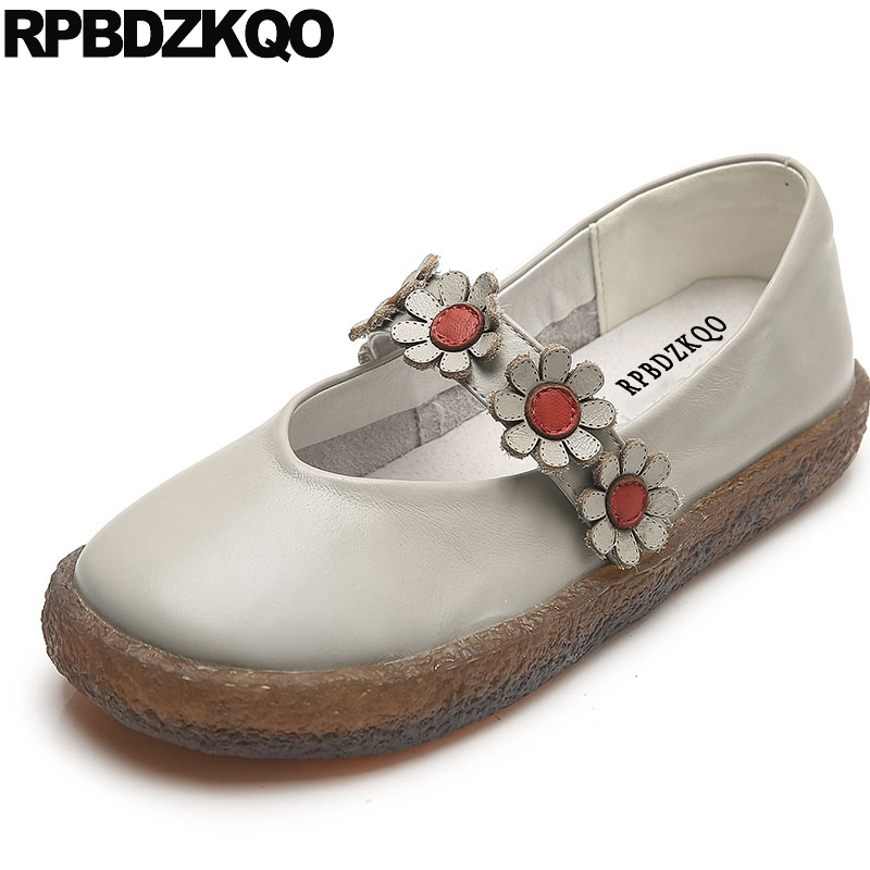 Genuine Leather Ladies Beautiful Flats Shoes Handmade Women Flower Applique Vintage 2018 White Japanese School Floral Mary Jane
