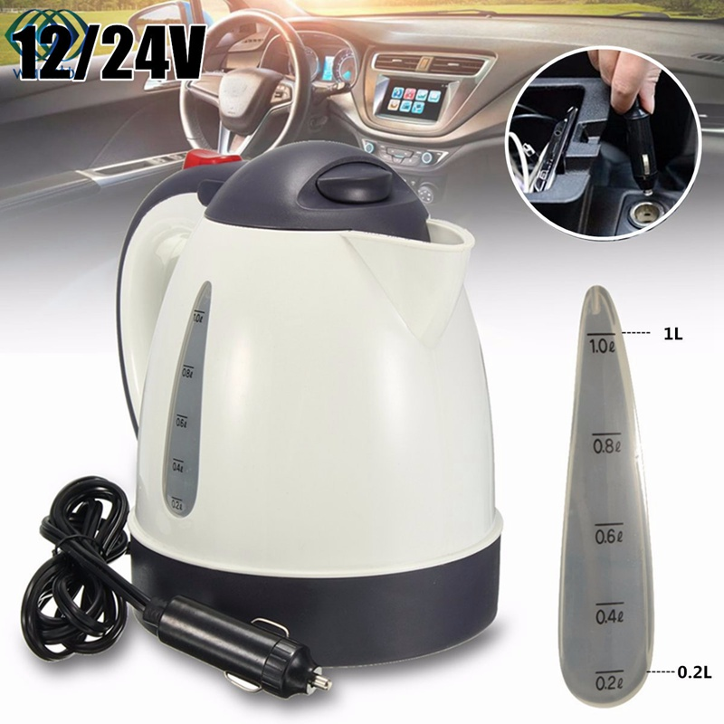 Car Hot Kettle Portable 1000ML Water Heater Travel Auto 12V/24V for Tea Coffee 304 Stainless Steel Large Capacity Vehicle 200w auto car portable heater fan dryer defrost black 12v
