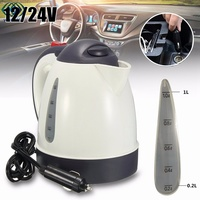 Car Hot Kettle Portable 1000ML Water Heater Travel Auto 12V 24V For Tea Coffee 304 Stainless