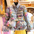 S-5Xl Floral Women Winter Parka Skirt Fashion Female Thicken Warm Stand Collar Cotton Female Coat And Jackets With Belt Wt1407