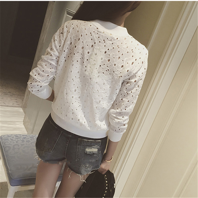 Hzirip Lace Hollow Out Jackets 2018 Spring Summer New Casual Slime Women Thin Jacket White Black Lady Shorts Outwear Plus Size 4