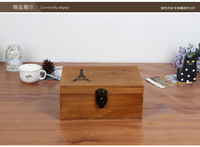 2016 Free Shipping Eiffel Tower Money Cofre key box wooden storage box with locker 2keys wooden Home Storage