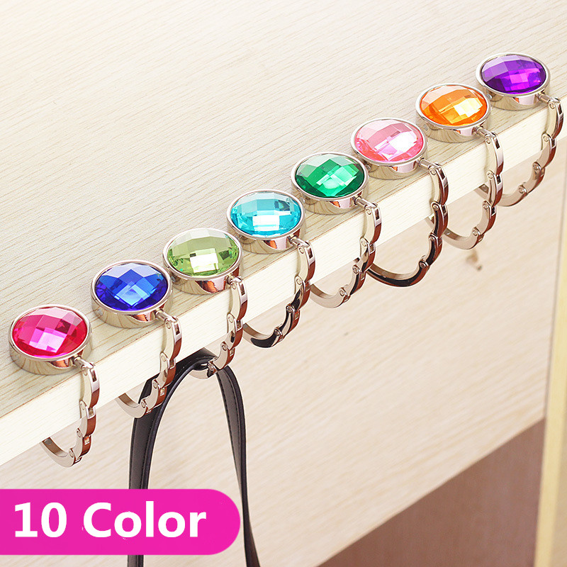 4pcs Portable Handbag Hanger Purse Hook Handbag Hanger Purse Hook Handbag Holder Shell Bag Folding Table Hook Robe Hooks Bathroom Hardware assorted Colors