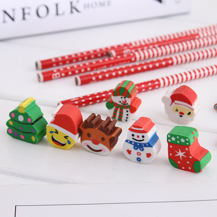 Santa Snowman Snowlake /& Christmas Tree Qpout Christmas Pencil with Eraser Toppers Xmas Favours Supplies