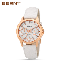 BERNY Red Leather Ladies Quartz Watches Women Fashion Casual Rose Gold Wristwatch Female Dress Waterproof Sapphire Quartz-Watch