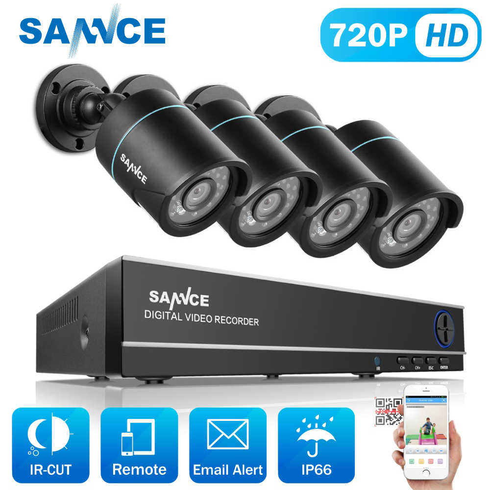SANNCE 8CH 720P CCTV System H.264 1080N DVR 4pcs 720P 1200TVL IR Outdoor Waterproof CCTV Camera Home Security Surveillance Kit home security system 16ch h 264 motion detect camera system dvr kit with 800tvl waterproof outdoor ir night vision cctv camera