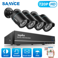 SANNCE 8CH 720P Securiry Video System 5IN1 H.264 DVR With 4PCS 1280TVL TVI Smart IR Outdoor Weatherproof Camera Home CCTV Kit