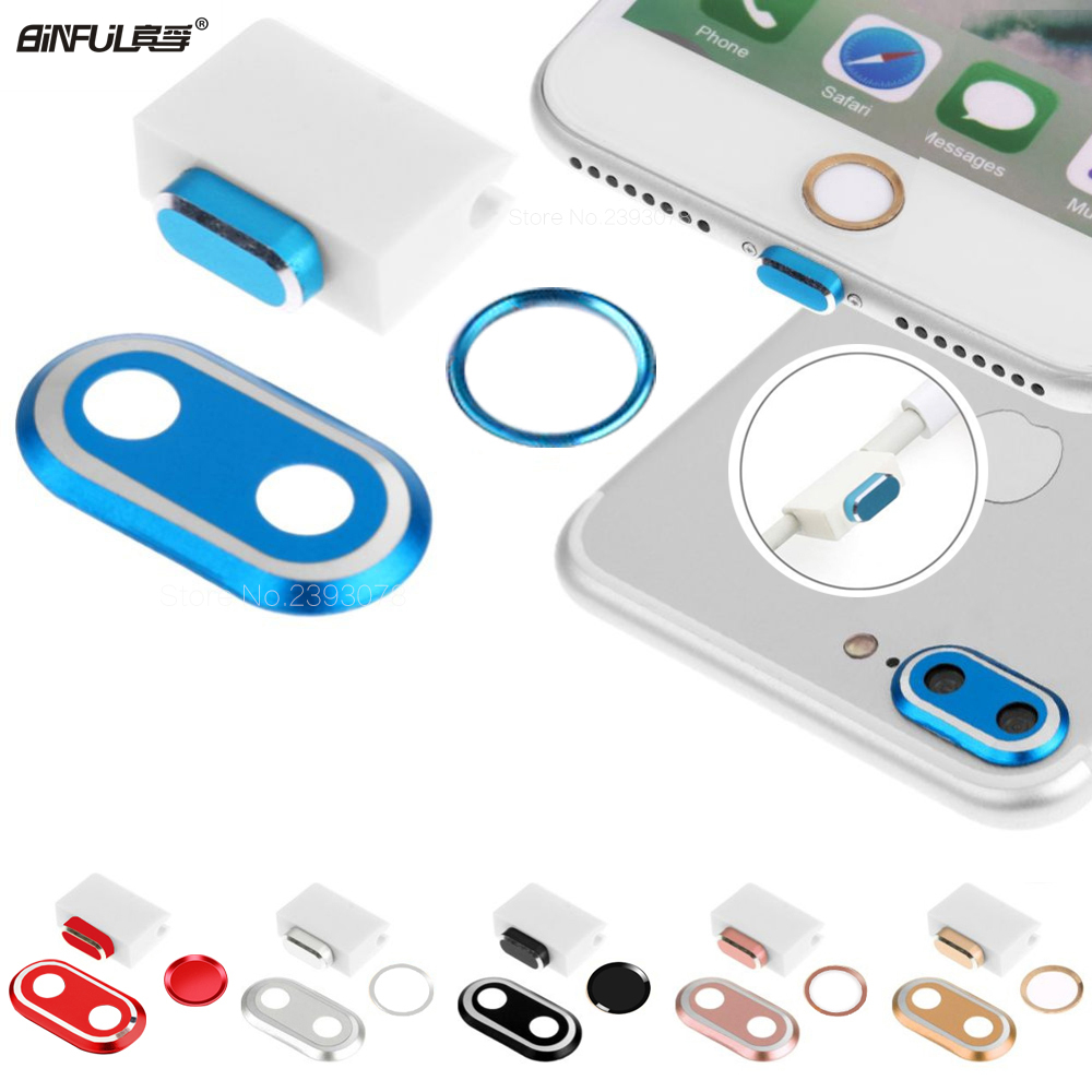 Für iPhone 7 8 4.7 Plus 5.5 3-in-1-Metall-Rückfahrkamera-Objektivschutzhülle Home Button Sticker Ring Dust Plug