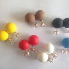 New Fashion jewelry double side crystal 16MM pearl Frosted matte stud earring gift for women girl mix color
