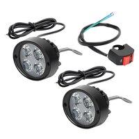 2Pcs Set Motorcycle Headlight 4 LEDs Moto Headlamp Spotlight DC 12V 85V Motorcycle Accessories Super Bright